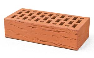 Кирпич лицевой керамический BRAER пустотелый красный риф, 250*120*65 мм