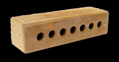Кирпич узкий колотый тычковый  пустотелый с.ф желтый