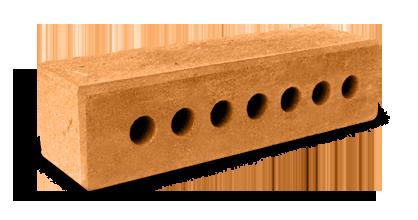 Кирпич узкий колотый тычковый пустотелый с.ф терракот