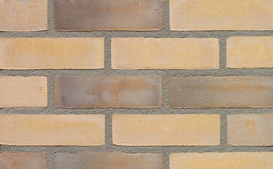 Кирпич облицовочный ручной формовки Terca Geel Zwart Genuanceerd (65mm STAMFORD WEATHERED BUFF), 215*102*65 мм