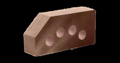 Кирпич стандартный гладкий пустотелый угловой шоколад, бордо