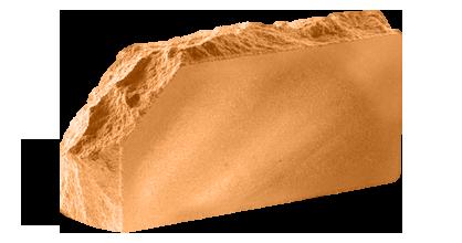 Кирпич стандартный полнотелый гладкий  Скала угловой тычковый  терракот